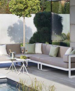 Averon modern white grey cushion outdoor sofa club lounge chair chaise