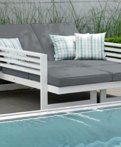 Modern White Aluminum Multipurpose Double Chaise Lounger