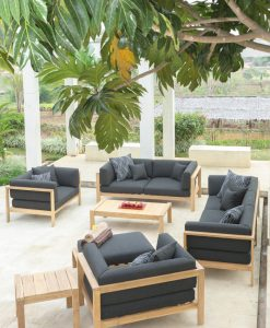Modern Teak Cushion 2 Seater Sofa