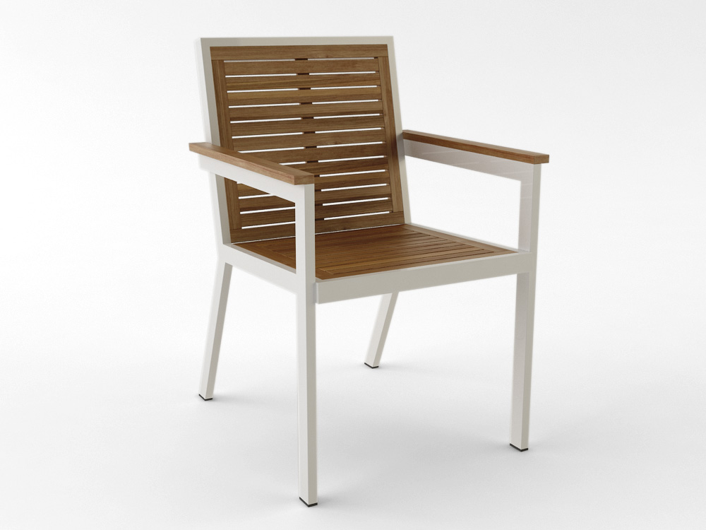 Contemporary Teak Black White Dining Chair California Luxury Contract Hotels