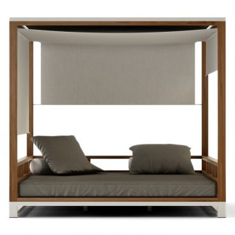 Bermudafied-modern outdoor teak white black daybed curtain adjustable canopy hotel contract hospitality 3