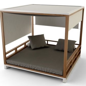 Bermudafied-modern outdoor teak white black daybed curtain adjustable canopy hotel contract hospitality