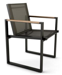 Bermudafied modern outdoor white black teak arm insert Dining Arm Chair Batyline
