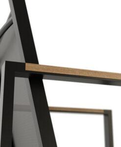 Bermudafied-modern outdoor white black teak arm insert-Dining-Arm-Chair-Batyline--4