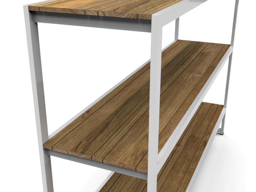 Bermudafied Modern Teak White Black Outdoor Storage Shelves Decor Rack 1