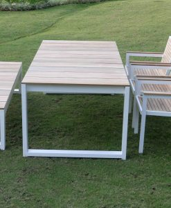Bermudafied teak white black dining table modern bench arm chairs
