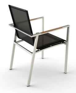Modern Stainless Steel Teak Batyline Dining Chair