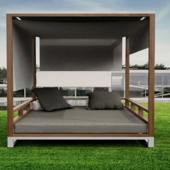 Teak black white  aluminum gray daybed on dock beautiful collection. canopy modern luxury.
