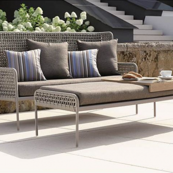 agreta 3 seater sofa champagne grey contemporary outdoor furniture residential Hamptons Greenwich
