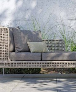 agreta chaise lounger daybed champagne grey contemporary outdoor furniture residential Hamptons Greenwich