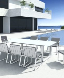 Averon Transitional White Glass Extendable Dining Table