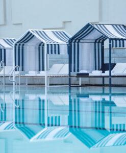 Cabana daybed modern luxury hotel ferrari blue orange white