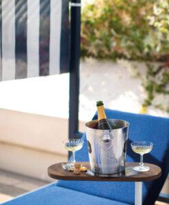 Cabana daybed modern luxury hotel ferrari blue orange white champagne