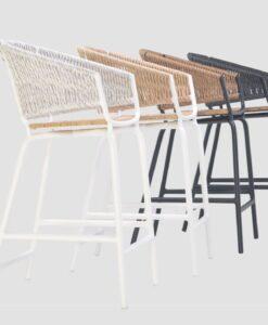 Ake weave barstool rope luxury restaurants cord outdoor furniture teak seat hotels contract hospitality custom height