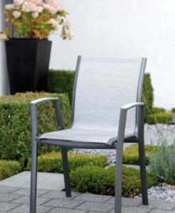 Modern Powder Coated Aluminum Textilene Outdoor Dining Chair