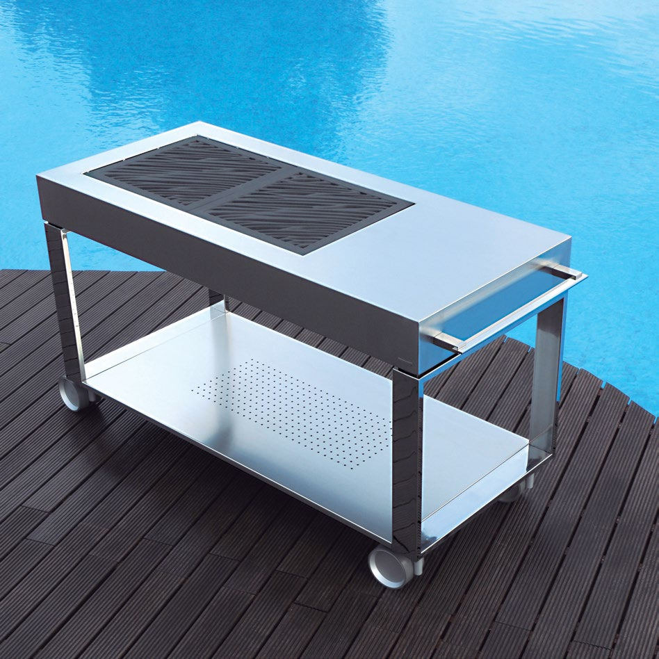 Sleek Aco Free Standing Charcoal BBQ Gas Grill - Couture Outdoor