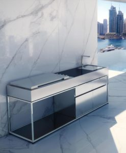 Sleek Island BBQ Gas Grill Luxury Stainless Steel Outdoor Kitchen with Sink Residential Commercial Modern Design