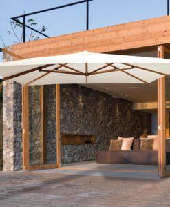 modern teak cantilever umbrella 360 rotation