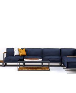 Modern Teak Stainless Steel Sunbrella Cushion Sectional Sofa