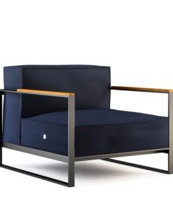 Modern Teak Powder Coated Stainless Steel Sunbrella Cushion Club Chair