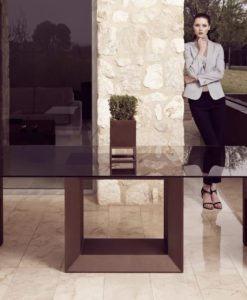 Modern Rectangular Glass Top Resin Dining Table