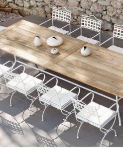 Manutti Capri Dining Table traditional black or white outdoor furniture teak or glass top