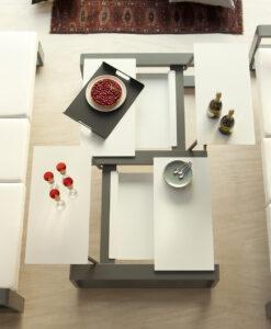 Modern multi position coffee table White Gray Sleek modern european style luxury design