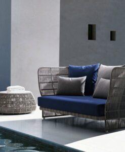 Modern Aluminum Wicker 2 Seater Sofa
