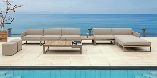 Modern Champagne Sectional Outdoor Sofa