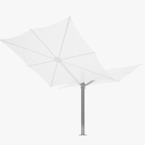 Double umbrella gives double coverage, perfect for sunny days. With Sunbrella or Textsilk olefin fabrics
