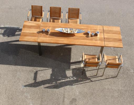 Conner Extendable dining table teak stainless steel Modern design