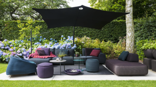 Hudson 360 Cantilever tilt Umbrella Luxury Outdoor modern Patio Furniture Residential Contract Mexico Caribbean Designer High Wind Resistance