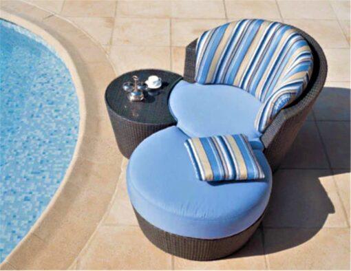 eden roc rausch swivel club lounge chair ottomon nest table wicker rope luxury european design hotel contract ship yacht furniture y