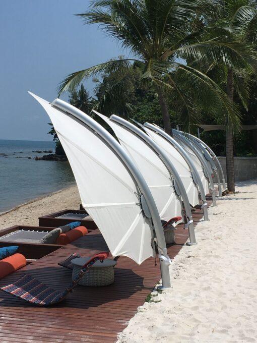 hotel modern umbrella cantilever 360 contract spectra ocean beach club Caribbean design Mexico Miami Contract Outdoor Umbrellas