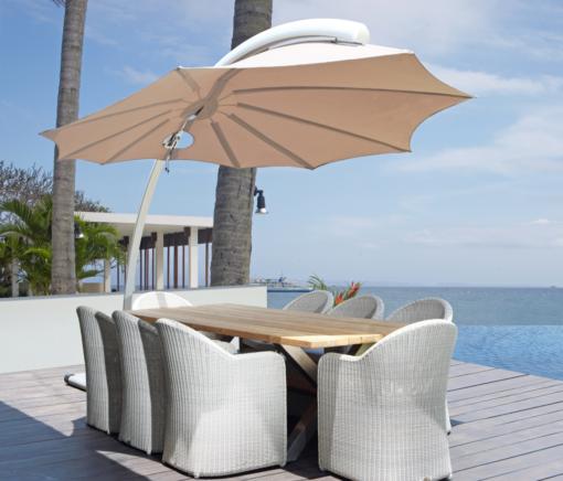 modern leaf flower design cantilever umbrella 360 316 marine grade Hamptons Miami NYC