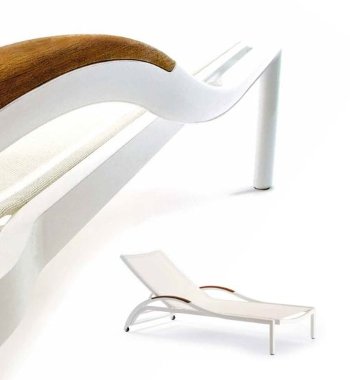 Grace Ego Paris is a modern or contemporary chaise lounger, is custom made with the teak arm rest or just pure colors you can create the most beautiful outdoor space.