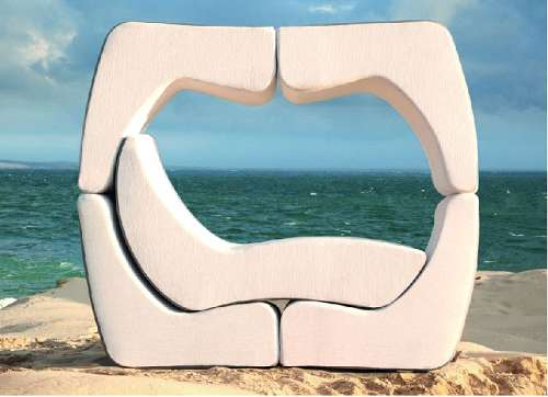 Luxurious, stacking chaise lounger is a virtual outdoor furniture lounge area. When not used, they are fun and easy to store, intertwined like a puzzle.