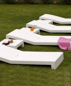 Modern Rectangular White Chaise lounger