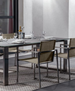 Sleek Sleek extendable stainless steel table. With modern flare and style, perfect for romantic dinners or dinner parties. stainless steel table. With modern flare and style, perfect for romantic dinners or dinner parties.