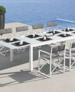 Modern Aluminum Tempered Glass Rectangular Extendable Dining Table