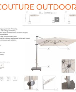 adam cantilever rectangle 10x13 square 13 ft 360 rotation turn roll movable base umbrella contract hospitality 2
