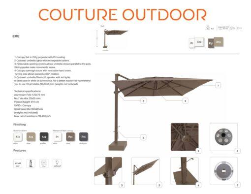 eve cantilever big giant rectangle 10x13 360 rotation umbrella contract hospitality