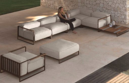 Badar White Details Teak Aluminum Luxury Outdoor Sofa