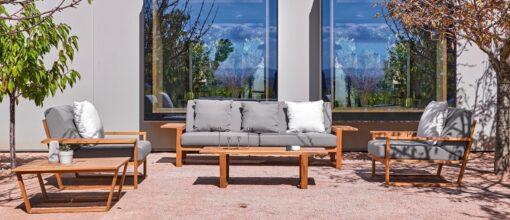 Amagansett Teak Contemporary 2-3 Seater Sofa