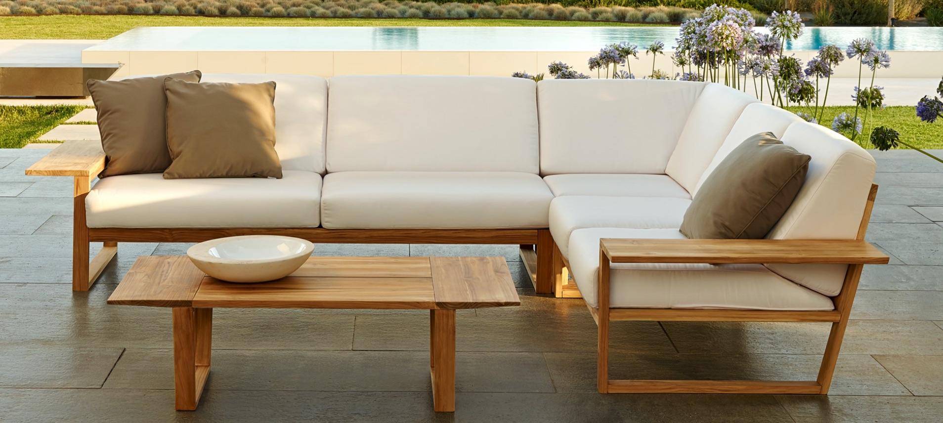 Lin Teak Contemporary Sectional Sofa