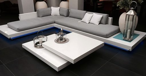 Platform Coffee Table clean lines and unique look make this White lacquer fiberglass table a beauty, with beautiful angles.