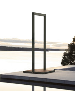 Modern Teak Outdoor Shower Rain Fall with teak base and stainless steel or powder coated frame.