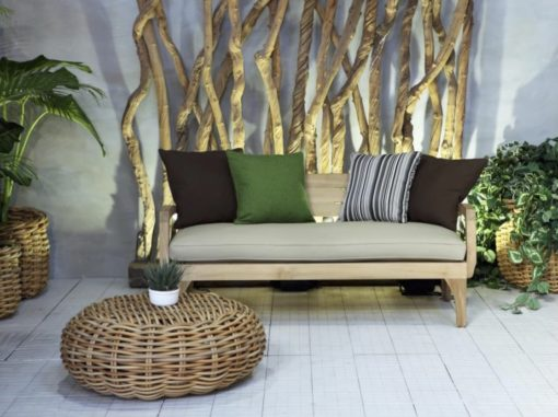 Aloha BB 2 Seater Sofa Restoration Teak Sunbrella Contract
