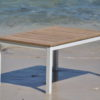 Athena teak extendable dining table white black butterfly