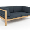 Belize modern teak luxury outdoor furniture design 2 seater loveseat sofa seating grey cushion quickdry hotel hospitality patio